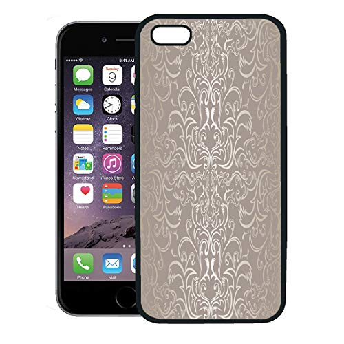 Semtomn Phone Case for iPhone 8 Plus case,Damask Silver Raster Vintage Pattern Grey Regency Antique iPhone 7 Plus case Cover,Black ()