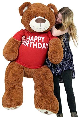 Big Plush Happy Birthday Giant Teddy Bear Five Feet Tall Cinnamon Color Wears T Shirt That Says Happy - Teddy Birthday Happy