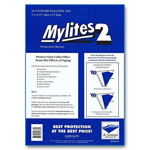 """Mylites 2 Standard Magazine 2-Mil Mylar Bags; Size 9"""" x 11-1/2"""" Plus 1-1/2"""" Fold-Over Flap; Pack of 50 - for Magazines"""
