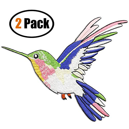ZOOPOLR 2 Pcs Hummingbird Delicate Embroidered Patches, Cute Embroidery Patches, Iron On Patches, Sew On Applique Patch,Cool Patches for Men, Women, Kids ()
