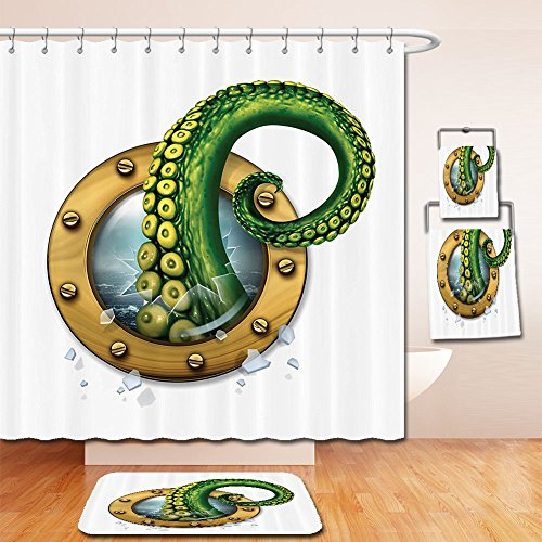 LiczHome Bath Suit: Showercurtain Bathrug Bathtowel Handtowel Nautical Decorations Collection Ship Porthole Octopus Kraken Tentacles Broken Glass Stormy Ocean Polyester Fabric Greenhite For - Port New Orleans Place Of