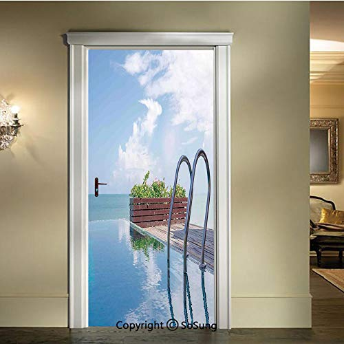 - baihemiya Door Wallpaper Murals Wall Stickers,Limitless-Swimming-Pool-Like-Combines-with-The-Sky-in-Island-Clouds-Journey-Relax-Print,W30.3xL78.7inch,for Home Room DecorBlue-Brown