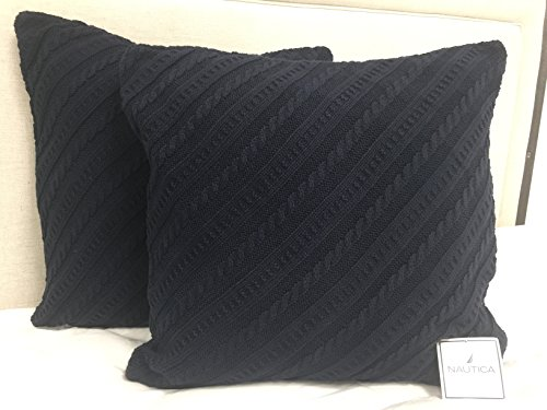 Nautica Madras Sea Sweater Knit Pillowcase, Navy (Set of 2)