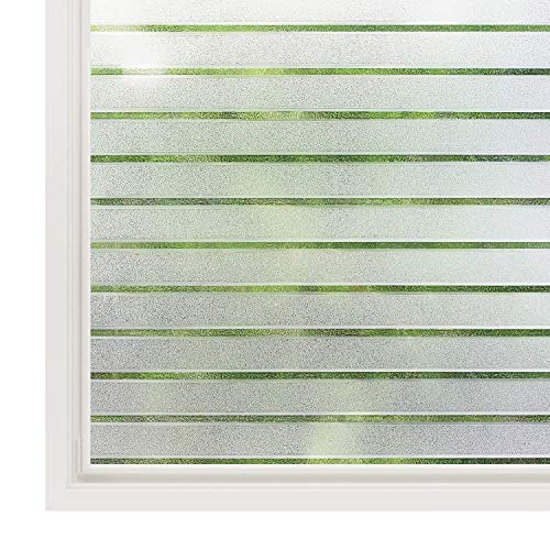 (Rabbitgoo Privacy Window Film Static Cling Frosted Glass Film Window Frosting Film No Glue Window Sticker UV Protection White Stripe for Home Office Kitchen Living Room 17.5