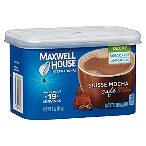 Maxwell House International Café Flavored Instant Coffee, Suisse Mocha, Decaf & Sugar Free, 4 Ounce Canister (Pack of - Caffeine Free Coffee