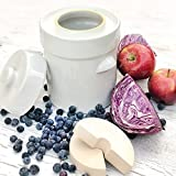 TSM Products German Style Fermentation Harvest Pot with Stone Weight, 2-Liter (White) (2 Liter)