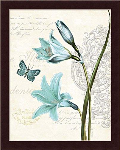Lila Bleu II Katie Pertiet Blue Lily Butterfly Art Print Framed Picture Wall Décor (Butterfly Garden Framed Print)