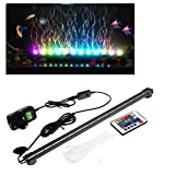 T Tocas(tm) Bubblefun 18 LED RGB Underwater Aquarium Light Bar with Air Bubble, Remote Control Colorful Changing Fish Tank Lamp( (18-inches)