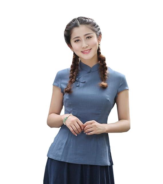 YueLian Mujeres Elegante Retro Manga Corta Color Sólido Talla 36-44 Traje Chino Blusa China