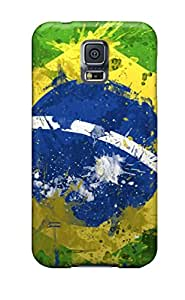 BZhMuYH5405zuRbx LisaMichelle bandera de Brasil en pintura Durable Galaxy S5TPU suave Flexible caso