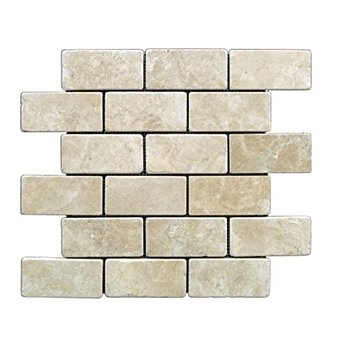 Sample Stainless Steel Insert Marble Stone Beige Mosaic: Cream Backsplash Tiles For Kitchen: Amazon.com