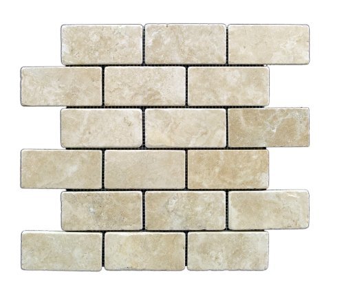 Durango Cream 2 X 4 Tumbled Travertine Brick Mosaic Tile - Box of 5 sq. ft. by Oracle Tile & Stone
