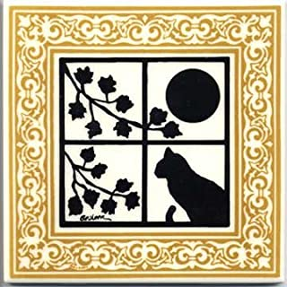 product image for CAT Tile - CAT Wall Plaque - CAT TRIVETS with Gold Victorian Border