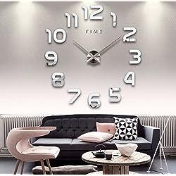 Modern Frameless Large 3D DIY Wall Clock Kit Decoration Home for Living Room Bedroom (Sliver)
