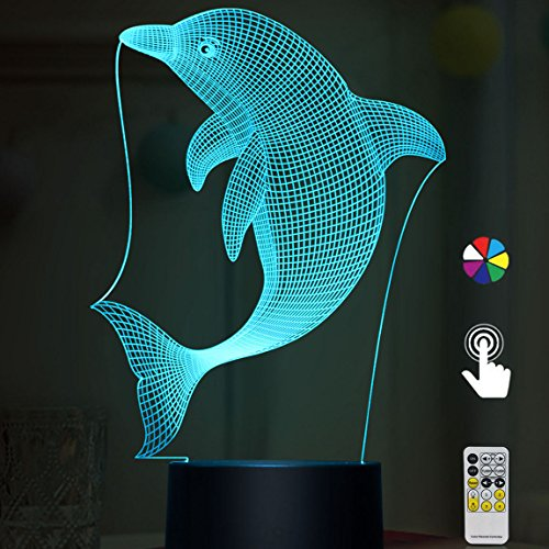 (Night Lights for Kids Dolphin 3D Night Light Bedside Lamp Dolphin Toy Light 7 Colors Changing with Remote Control Best Christmas Gifts and Birthday Gifts for Boys Girls Kids Baby Children)