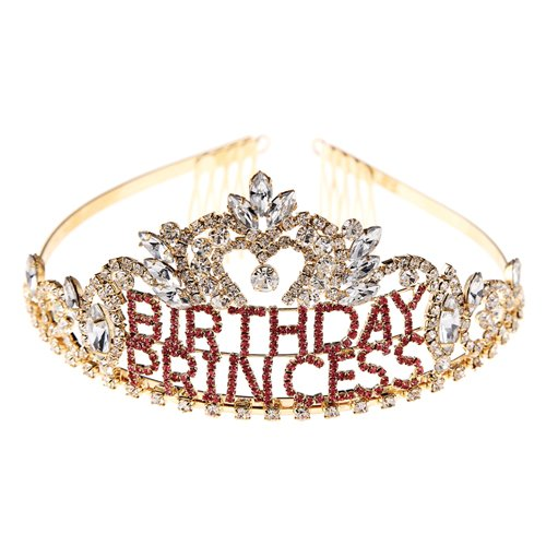 Arsimus Rhinestone Birthday Princess Tiara (Gold)