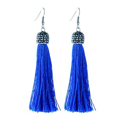 el earrings Long Fringe Tassel Thread Drop Earrings Dangle 6 Colors (Royal blue) ()