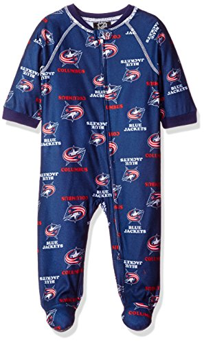 NHL Columbus Blue Jackets Infant Boys Sleepwear All Over Print Zip Up Coveralls, 12 Months, True Navy Toddler Jackets Shop