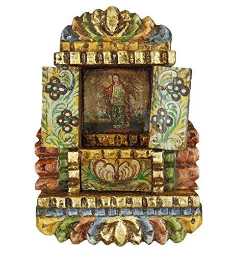 Archangel Gabriel Colonial Peru Religious Handmade Retablo Handcarved Altarpiece