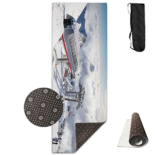 Extreme Sport Skiing Cool Snow Mountain Yoga Mat,Crystal Fabric,bottom Non-woven Point Plastic. by Matbt