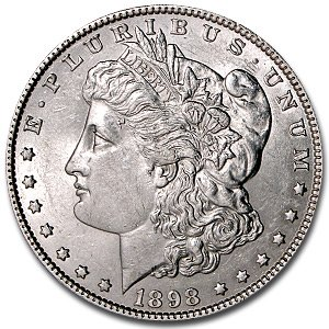(1898 Morgan Dollar AU $1 About Uncirculated)