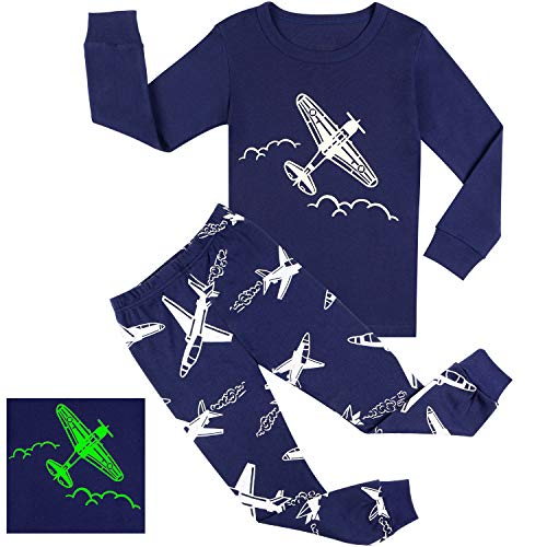 BOOPH Boy Pajamas Set Glow in Dark Plane Cotton 2 Piece Sleepwear for Kids Boys 4-5Y