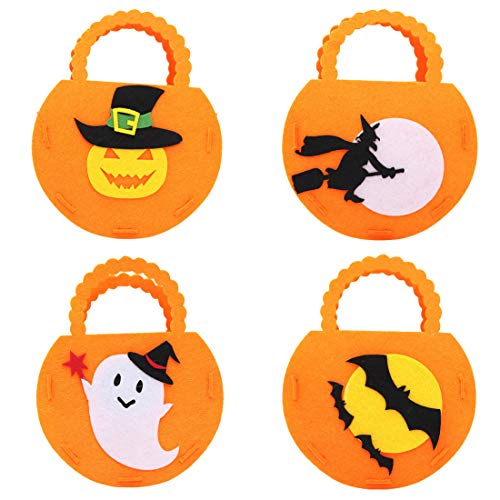 (FineInno 4Pack Halloween Trick or Treat Tote Bag Candy Bag Reusable Grocery Goodie Gift Treats Bag Snacks Pails Felt Holder Buckets with Handle (Three-Dimensional Tote Bag))