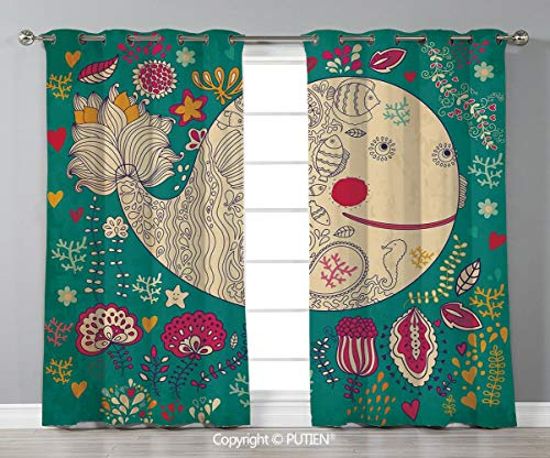 (Grommet Blackout Window Curtains Drapes [ Whale,Happy Giant Sea Ocean Creature Whale with Flower Blooms Tulips Leaves Design Artwork,Multicolor ] for Living Room Bedroom Dorm Room Classroom Kitchen Ca)
