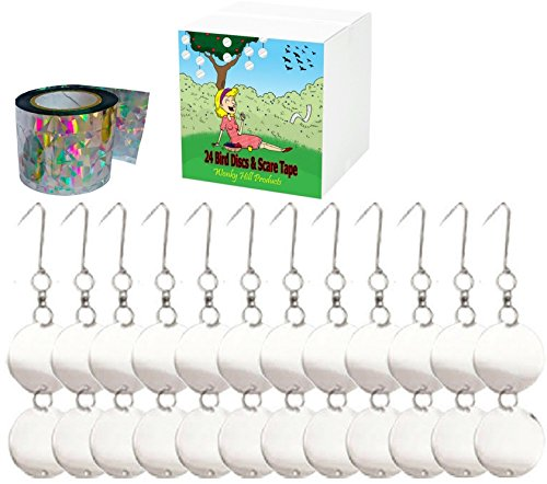 FANTASTIC VALUE WONKY HILL PRODUCTS 24 STAINLESS STEEL BIRD REPELLENT DISCS AND BIRD DETERRENT SCARE TAPE