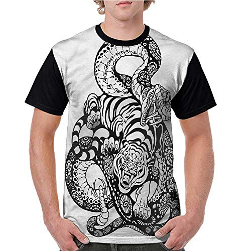 - Men's Short Sleeve Shirts,Tiger,Snake and Tiger Pattern S-XXL Tops for Lady Girls