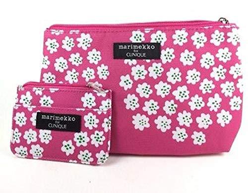 Marimekko for Clinique Pink Cherry Blossoms Bag Set for Cosmetics, Toiletries, Travel
