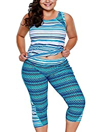 WoldGirls Womens Plus Size Rash Guard Capris Tankini Bathing Swimsuit