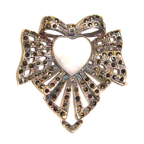 Mother of Pearl Heart PIN Brooch & Pendant Combo Marcasite .925 Sterling Silver ВК-116 ()