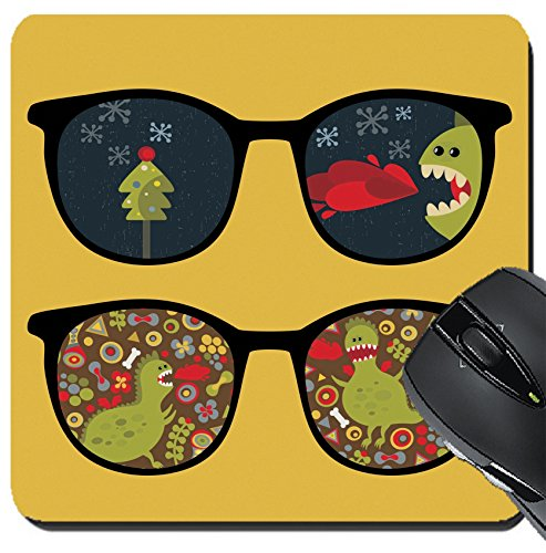 MSD Suqare Mousepad 8x8 Inch Mouse Pads/Mat design: 13057898 Retro sunglasses with cute dragon reflection in - Dragon Sunglasses Warranty
