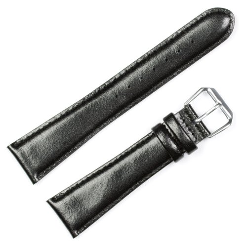 deBeer Smooth Genuine Leather Mens Watch Band/Strap - Black -