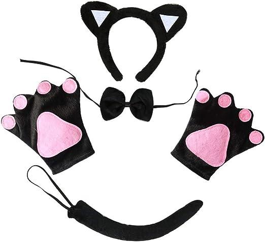 Egosy Disfraz de Gato para niños Diadema, Pajarita y niña de Gato ...