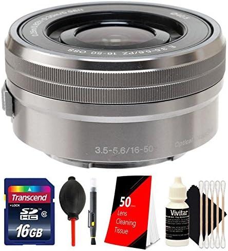 3pc Cleaning Kit Lens Pen Dust Blower 16GB Memory Card Sony E PZ 16-50mm f//3.5-5.6 OSS Silver Lens 50 Silver Lens Tissue