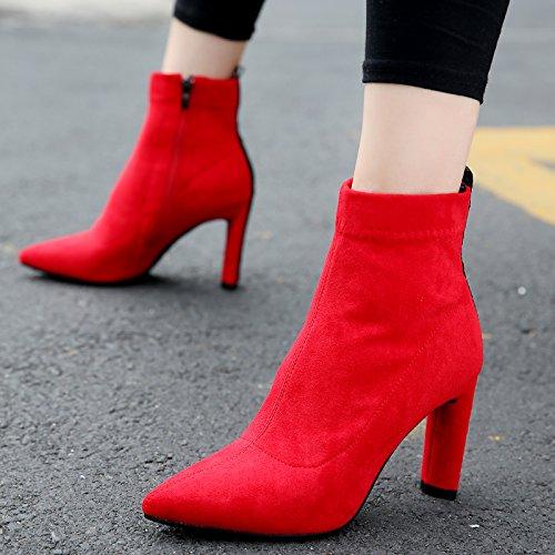 Señaló Y De Mujer OchoDe Tacones Moda Tacones De Americana KHSKX Cremallera Y Y Tacon Botas 9Cm De Zapatos Europea LateralTreinta Media Mujer Gules La Mujer qxgU8Zwt