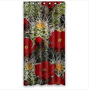 Beautiful Cactus Flower Design Desert Cactus Sunset Custom 100% Polyester Waterproof Shower Curtain 36 x 72