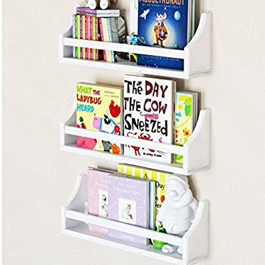Set of 3 Stylish Baby Nursery Room Wall Shelf Sturdy Birch Wood (Short (20 ), white)