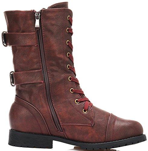 Dream Pairs Dames Nieuwe Winter Lace Up Combat Slofjes Boots Terran-bourgogne