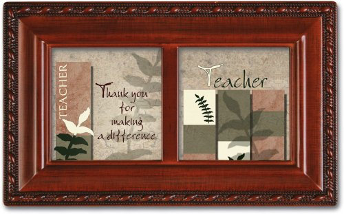 Teacher Keepsake Box - Cottage Garden Teacher Making A Difference Woodgrain Petite Music Box Plays Wonderful World