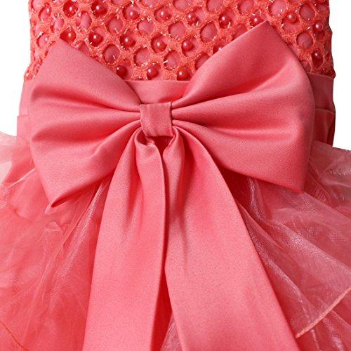 TIAOBU Baby Girls Flower Wedding Pageant Princess Bowknot Communion Party Dress Watermelon Red 6-9 Months
