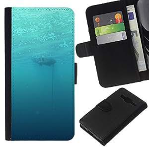YiPhone /// Tirón de la caja Cartera de cuero con ranuras para tarjetas - Profundo Submarino Océano - Samsung Galaxy Core Prime