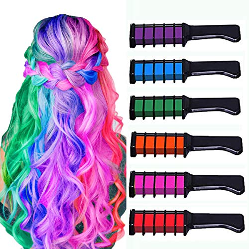 New Hair Chalk Comb Temporary Bright Hair Color Dye for Girls Kids,Washable Hair Chalk for Girls Age 4 5 6 7 8 9 10+ Children's Day, Christmas Gift New Year Birthday Party Cosplay DIY,6 Colors (Cosplay Ideas For Girls With Brown Hair)