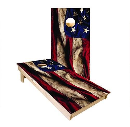 (Official Cornhole Boards & Bags Set - American Cornhole Association - American Flag Design - Heavy Duty Wood Construction - Regulation Size Bean Bag Toss for Adults, Kids - Lawn, Tailgate, Camping)