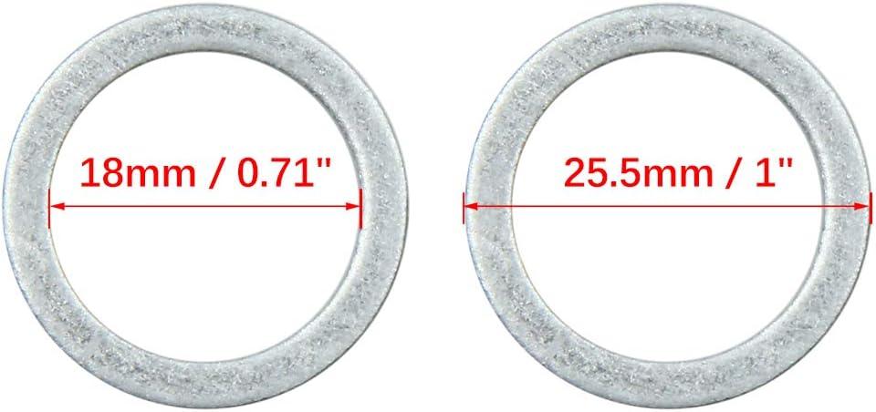 X AUTOHAUX 10pcs Engine Oil Crush Washers Drain Plug Gaskets 14mm ID 22mm OD.