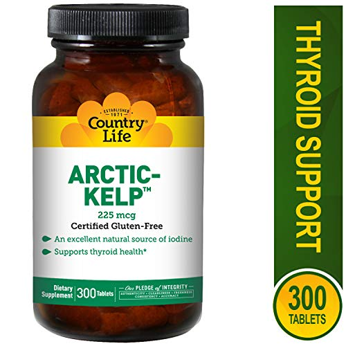 (Country Life Arctic Kelp, Supports Thyroid Health, 225 mcg ,300 Tablets )