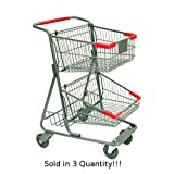 3 New Two-tier Metal Shopping Cart with Rear Basket (73-liter)
