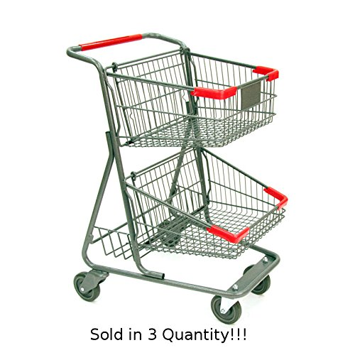 3 New Two-tier Metal Shopping Cart with Rear Basket (73-liter) by Store Shopping Cart